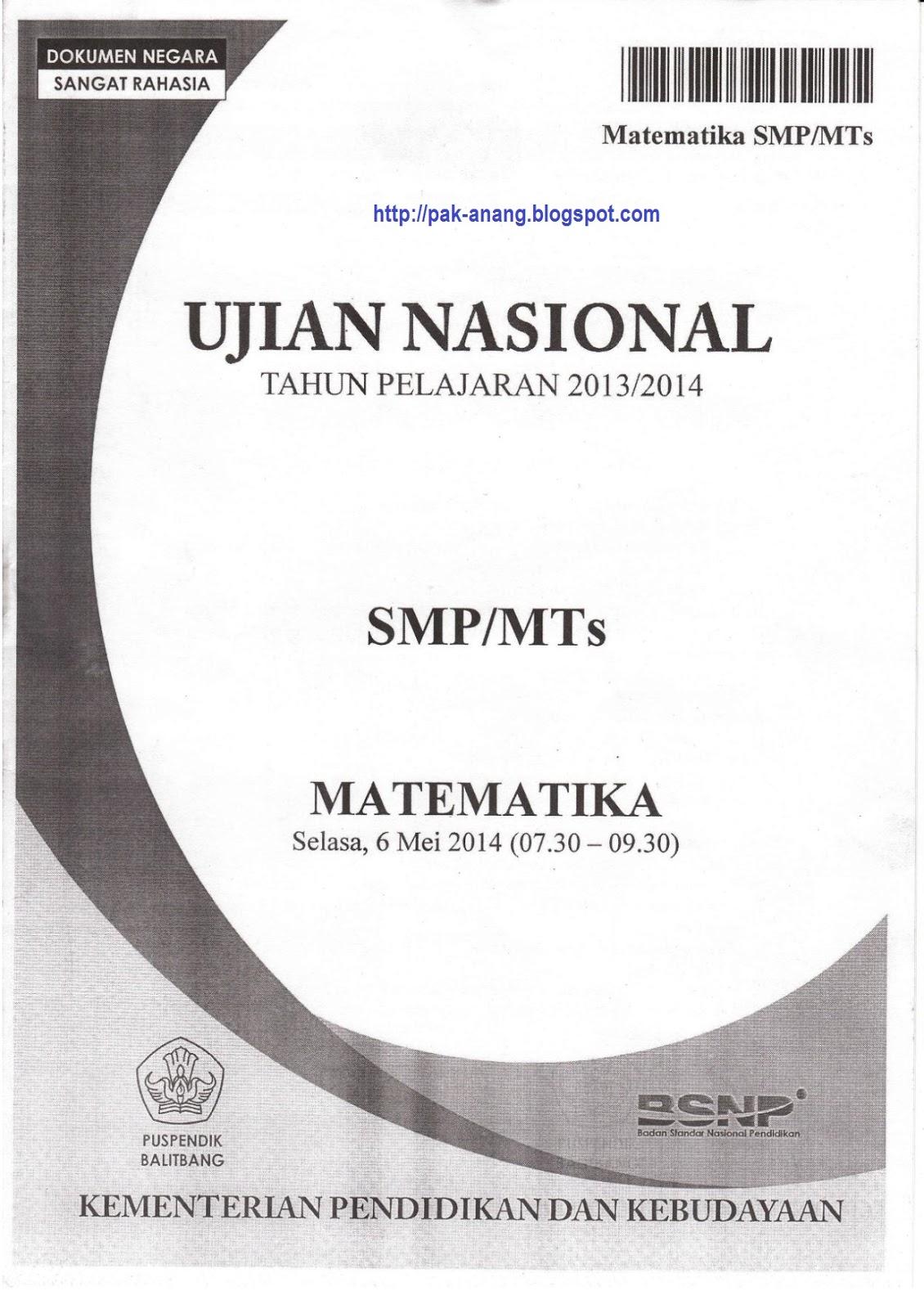 Berbagi Dan Belajar Naskah Soal Un Matematika Smp 2014 Paket 1