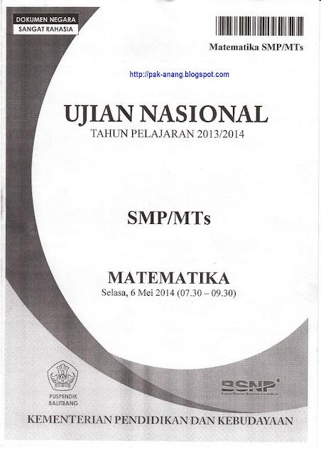 Naskah Soal Un Matematika Smp 2014 Paket 1