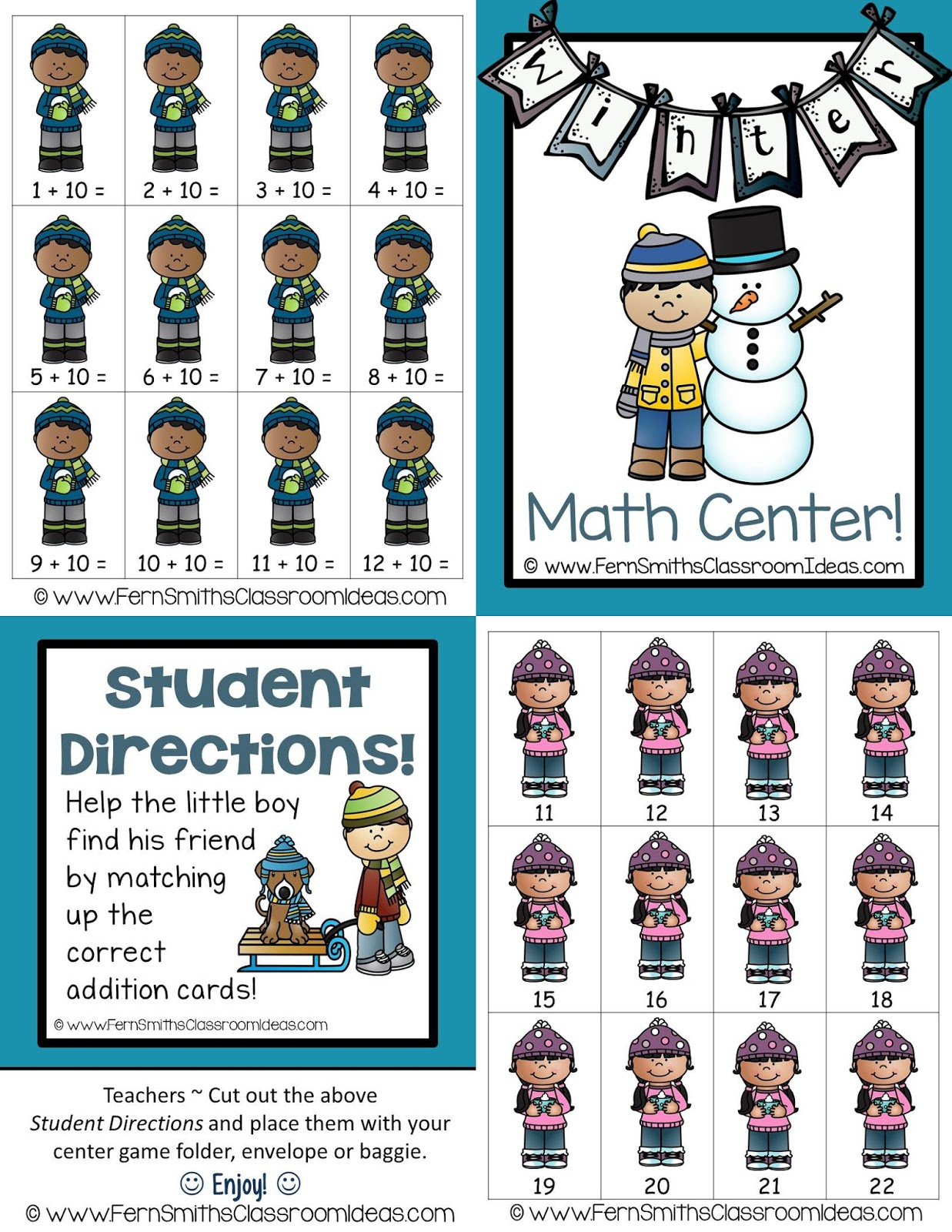 Fern Smith's Classroom Ideas FREE Quick and Easy to Prep Mixed Addition Plus Ten Concept Center Game with a Cute Winter Theme at TeachersPayTeachers.