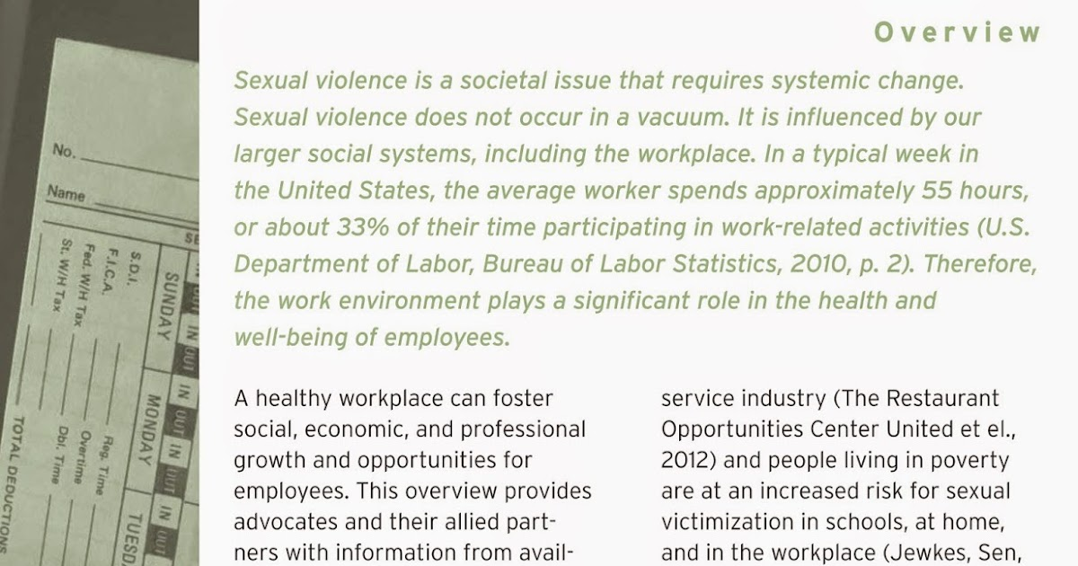 sexual abuse in the workplace and domestic violence essay Other places to find information, statistics and research about domestic violence: vawnet, the national online resource center on violence against women, is funded through a cooperative agreement with the us centers for disease control and prevention and is housed within the national resource center on domestic violence (nrcdv)vawnet is an easily accessible and.