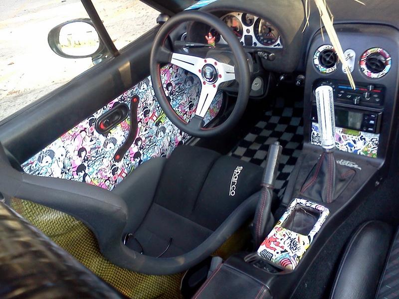 The JDMBits Miata With Crazier Interior!  Stickerbombed  door cards. & JDMbits: The JDMBits Miata With Crazier Interior!