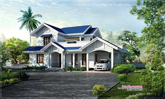 Blue roof villa elevation