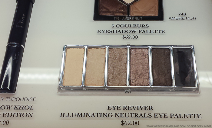 Dior Eye Reviver Illuminating Neutrals Eyeshadow Palette Backstage Pros 001 swatches