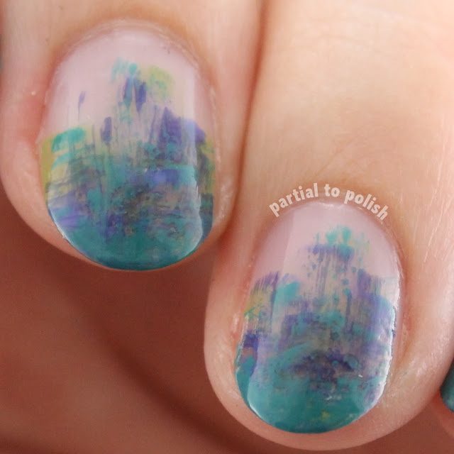 Blue & Green Negative Space Dry Brush Gradient Featuring Girly Bits I've Got High Hoops