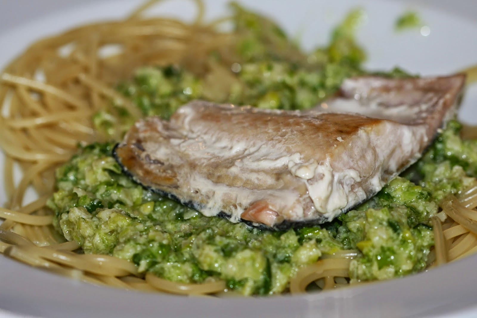 Salmon with Linguine and Leek Pesto