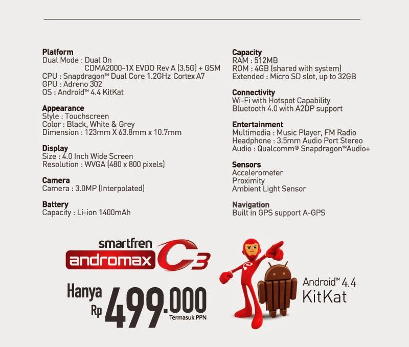harga dan spesifikasi andromax c3, android 4.4 kitkat