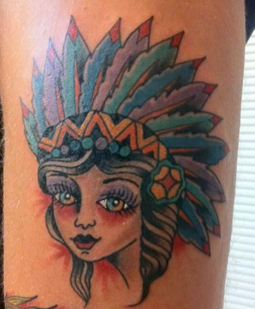 2011 Bold Traditional Tattoos. Bold old school Rose. Indian Girl Head
