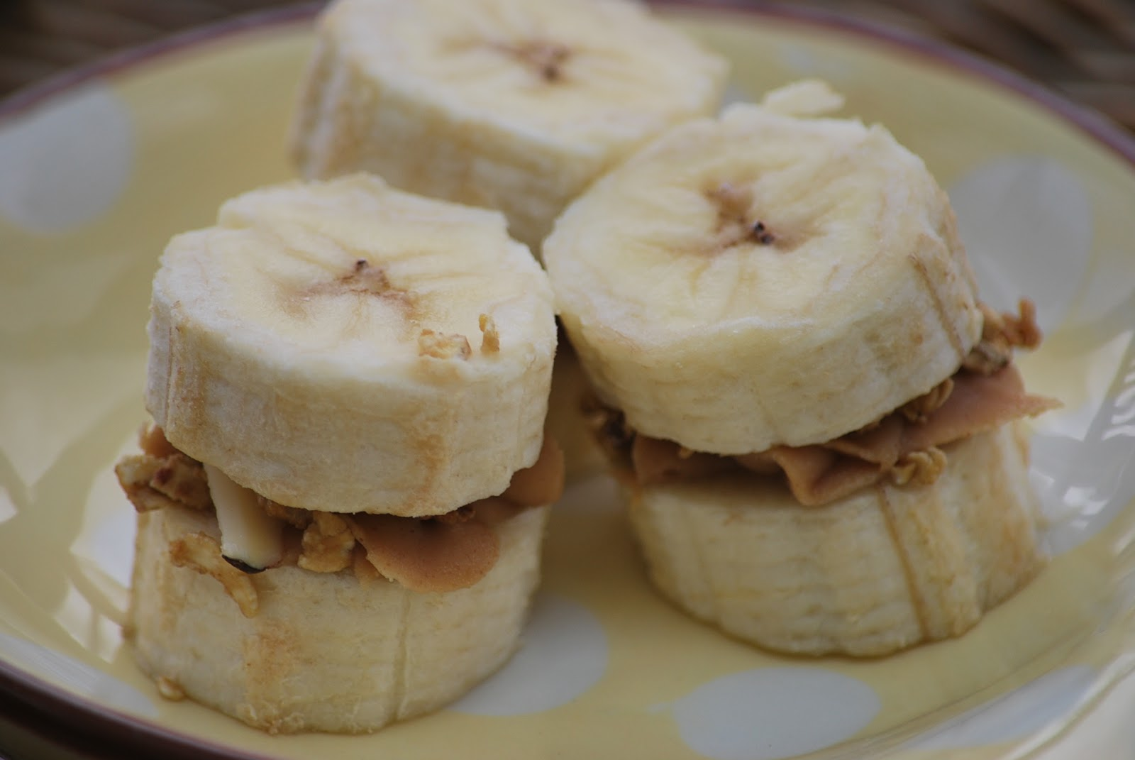transfer the banana peanut butter bites to a Tupperware container ...