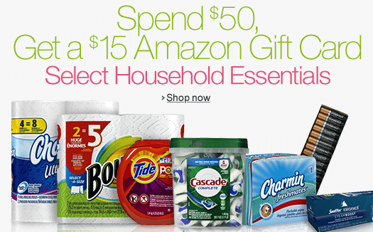 Get a FREE $15 When You Spend $50 on Select Household Essentials at Amazon! (FREE S&H)