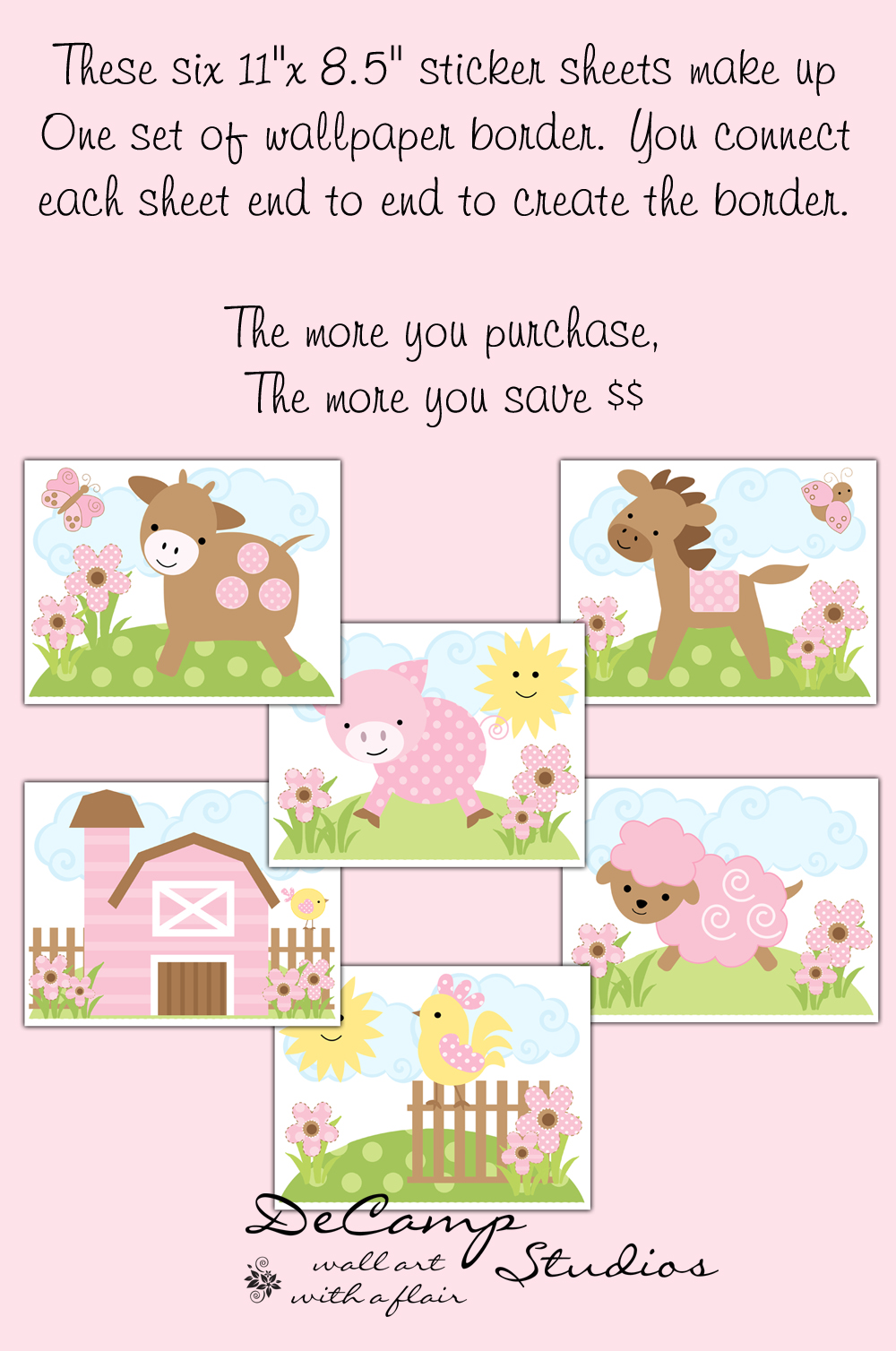 DeCamp Studios: Pink Barnyard Farm Animals Wallpaper Border Wall ... for Farm Animals Wallpaper Border  165jwn