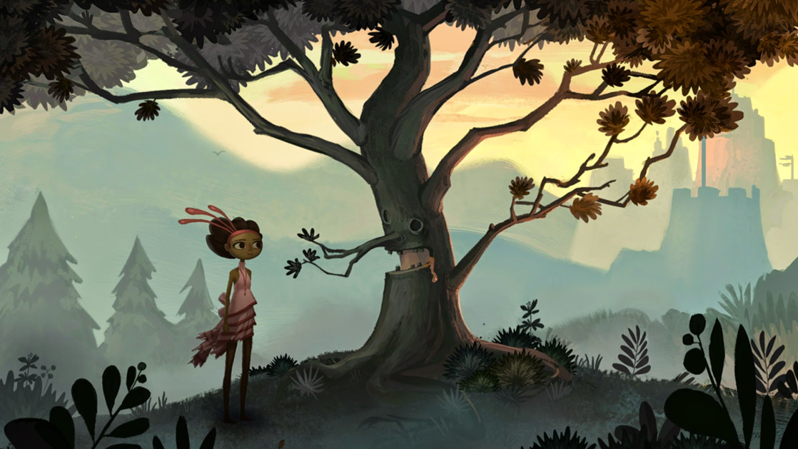Broken Age Act 1 Vella talking to a tree