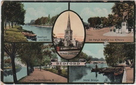 Vintage multiview postcard of Bedford