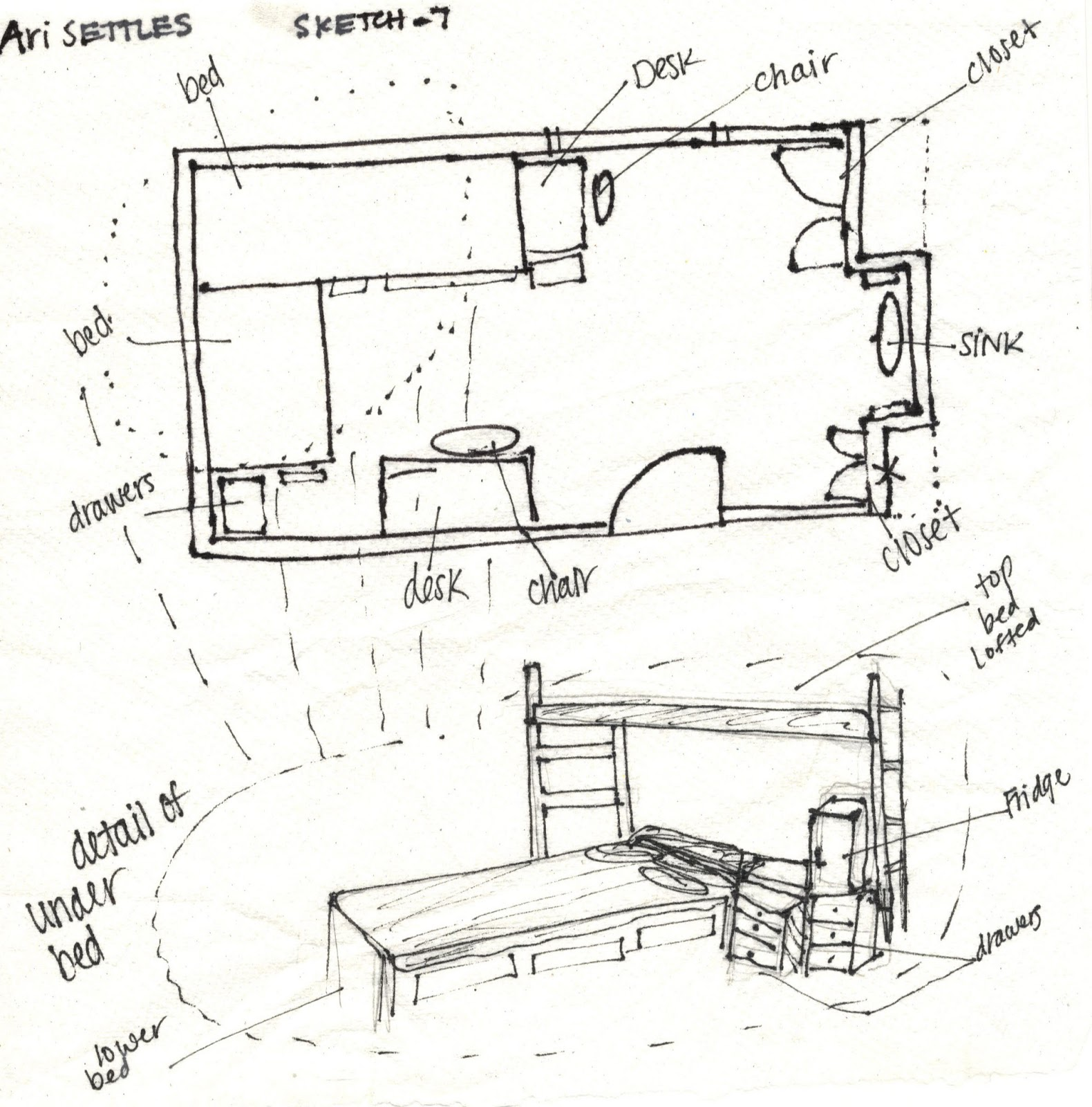 Ari settles 39 s interior design portfolio sketch journal for Floor plan sketch