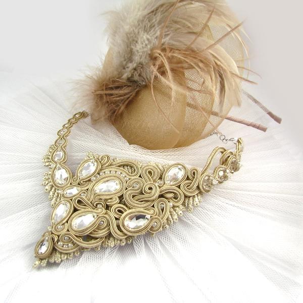 Sutaszowy naszyjnik z kryształami Swarovski