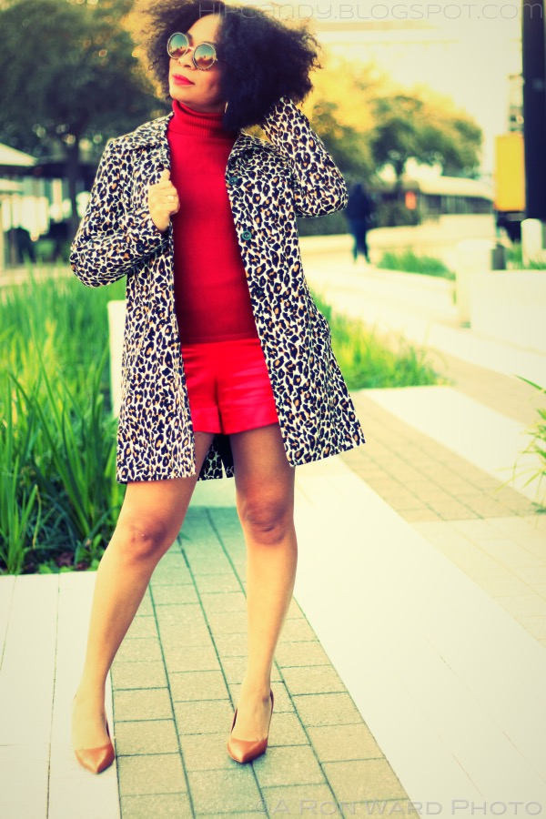 fashion sewing diystyle red shorts leopard coat