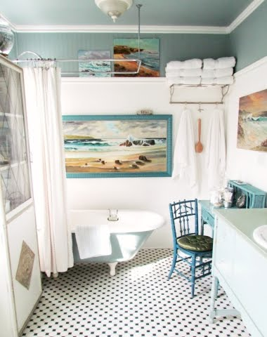 Aqua Bathroom Bliss with Seaside Art