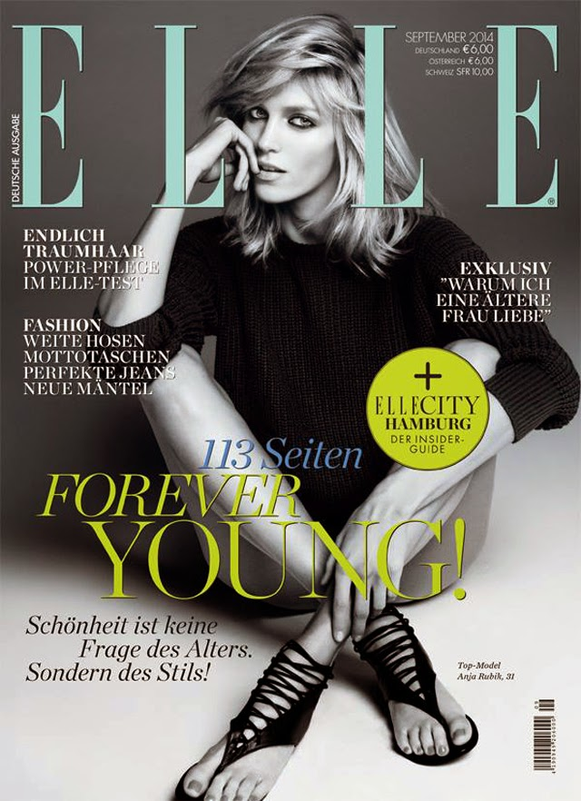 Elle Germany cover featuring Anja Rubik for September 2014