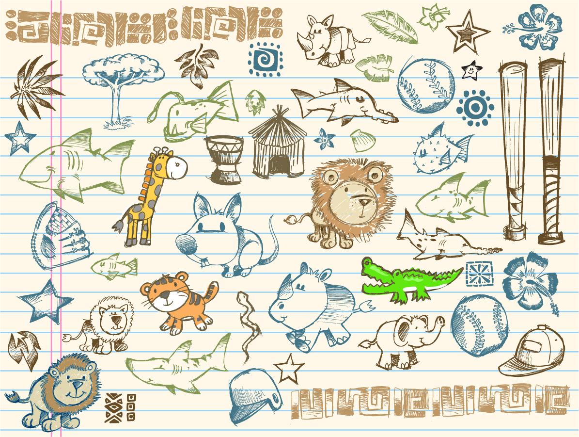可愛い落書きのクリップアート cute graffiti pattern イラスト素材1