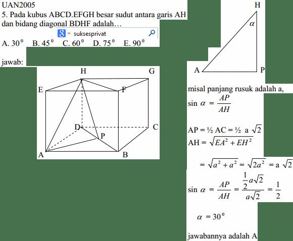 Bagaimana cara menghitung besar sudut yang dibentuk oleh Garis AH ke bidang diagonal BDHF pada Kubus bab Dimensi Tiga