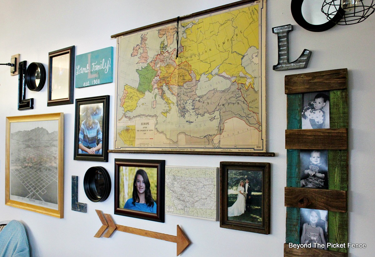 Beyond the picket fence gallery wall with awesome light sconces gallery wall sconces robert abbey lights map vintage school map old gumiabroncs Gallery