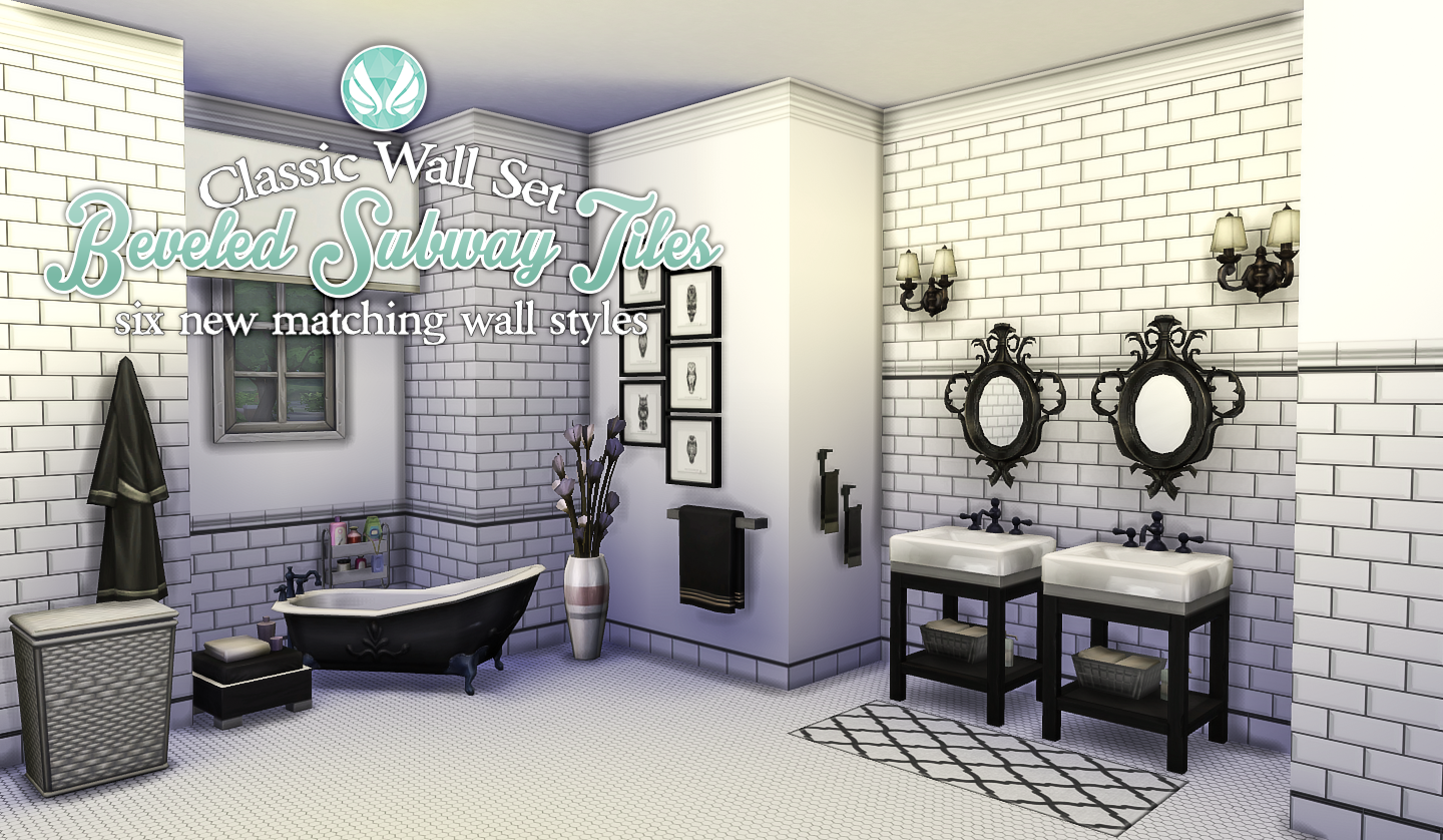 Simsational Designs: Classic Wall Set - Beveled Subway Tiles