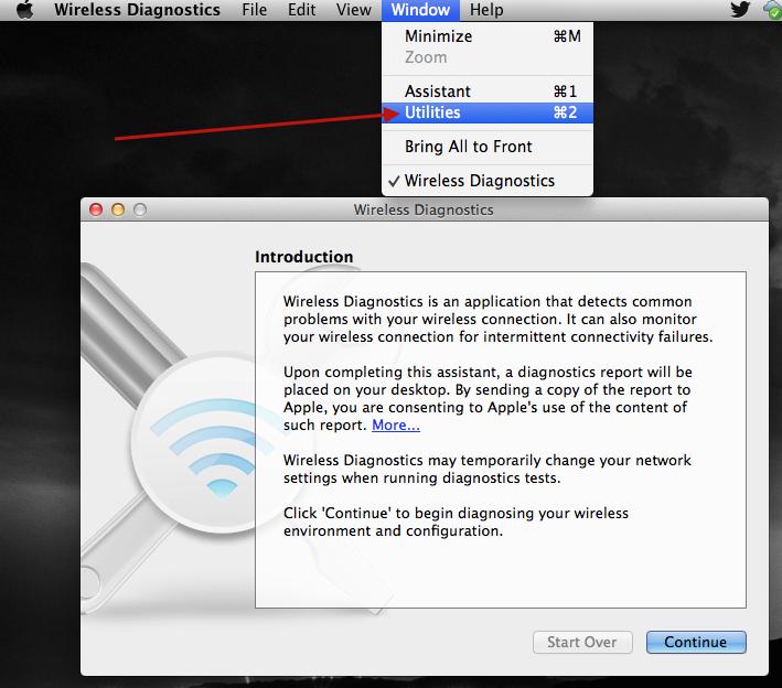 Mac OS X Wireless Diagnostic