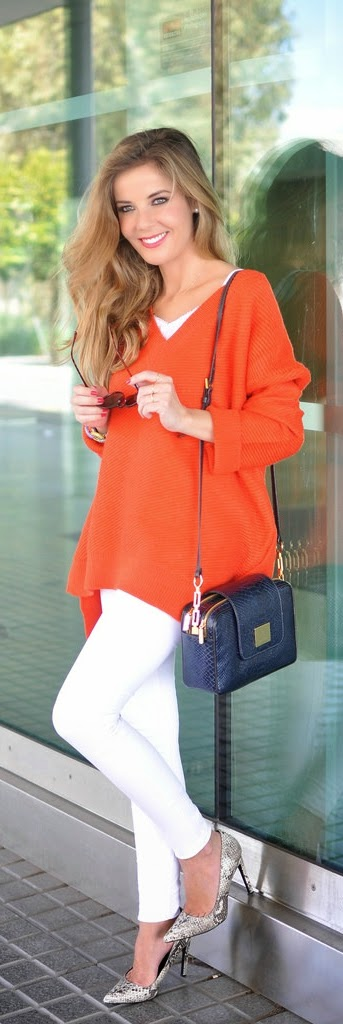 Pop Orange V-Neck Oversized Sweater with White Pant and Pumps | Street Outfits