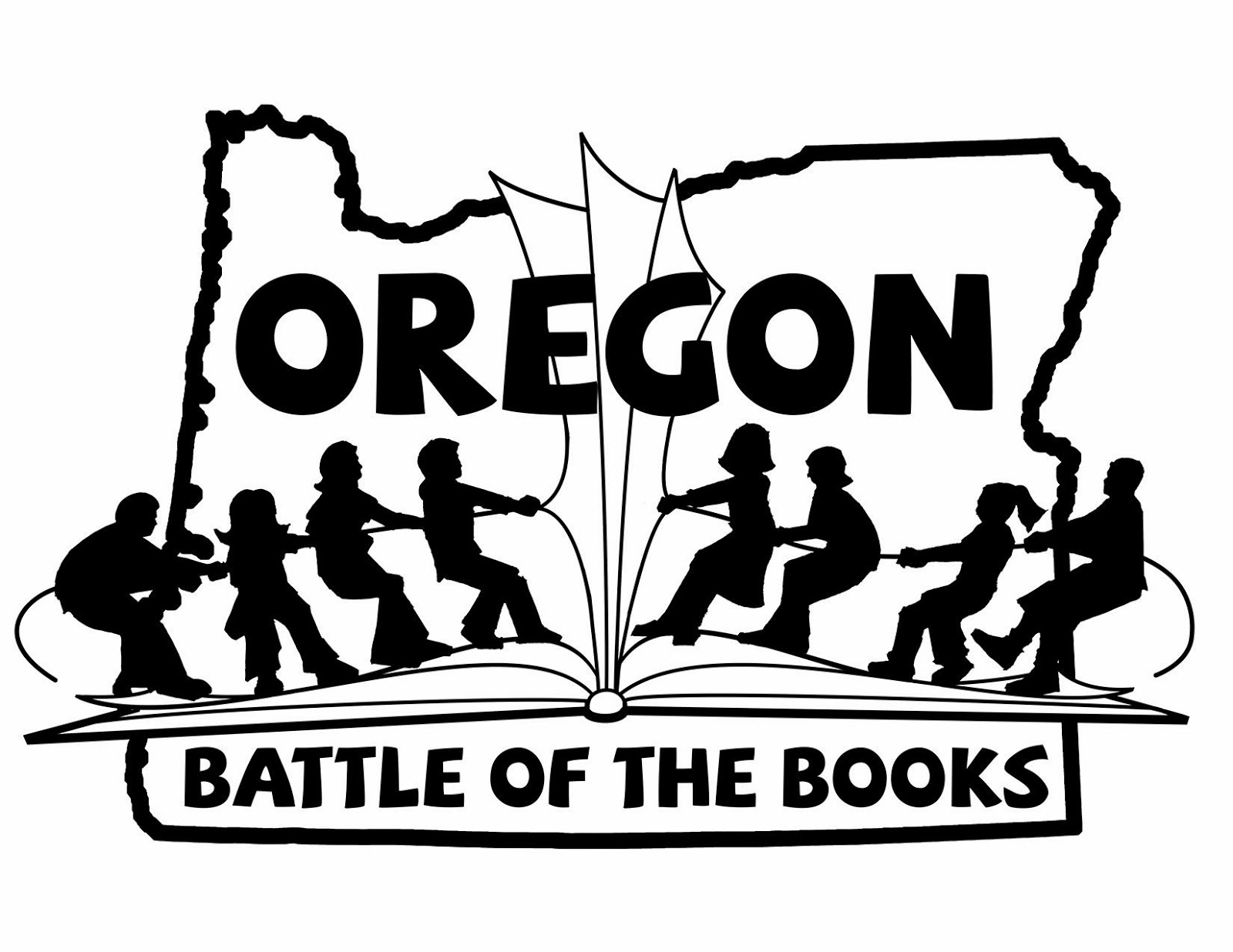 Logo for Oregon Battle of the Books: Two teams of four students stand on an open book, playing tug-of-war across the book's gutter. The image is superimposed on top of an outline of the state of Oregon.