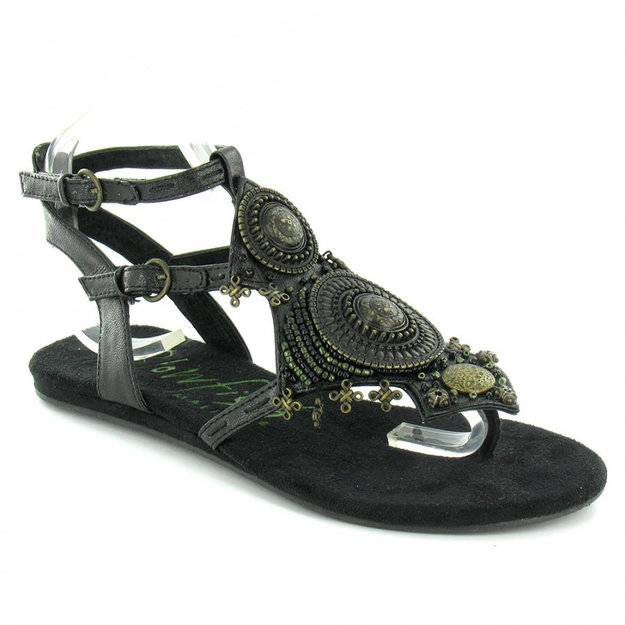 blowfish latin womens strapped flat sandals 12827 4566 zoom - Black flat sandals