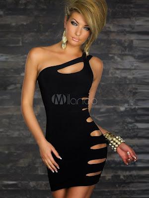 Noir Découpe robe de Club One-épaule femme Polyester
