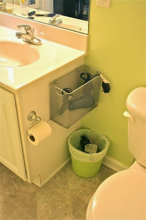 Use Baskets for the storage of daily used  appliances in your bathroom