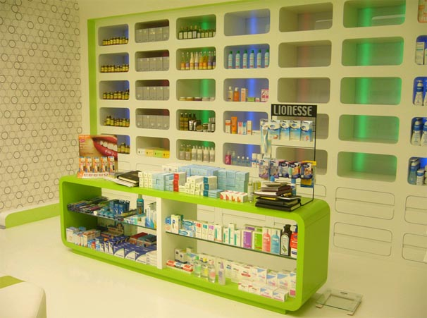 modern drug store design ideas with interior lighting - Pharmacy Design Ideas