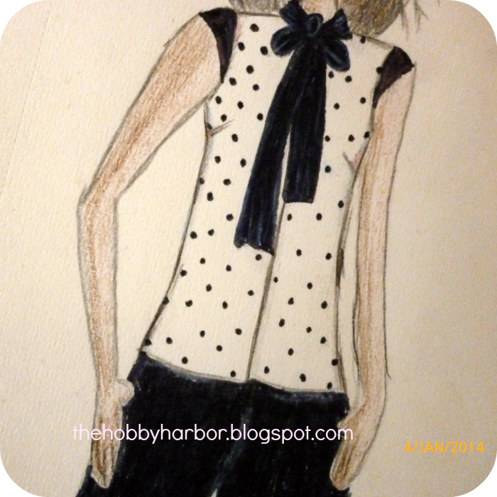 Learning fashion drawing of a polka dot blouse