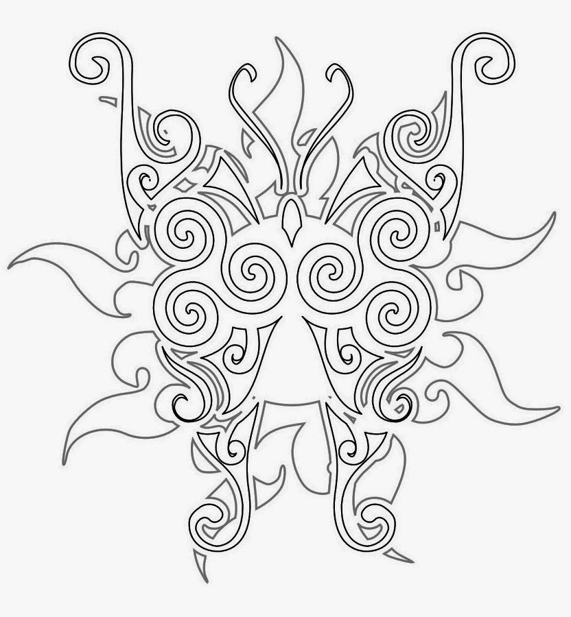 Maori tribal Butterfly tattoo stencil