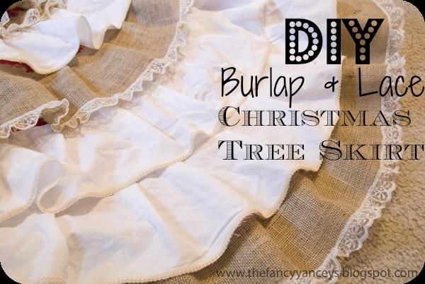 DIY NO SEW Ruffle Burlap & Lace Christmas Tree Skirt - VINTAGE ...