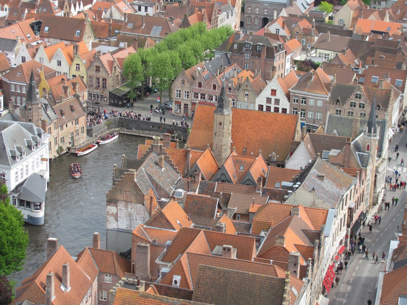 Canal Below the Bell Tower Bruges Belgium