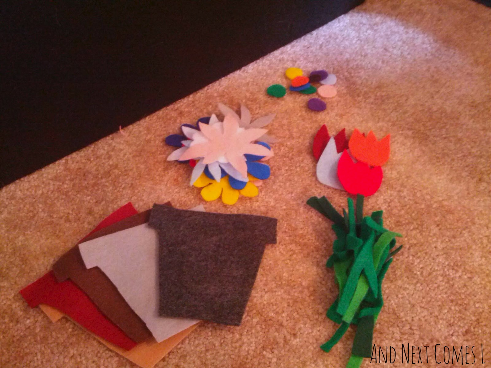 Pieces of spring felt board play from And Next Comes L
