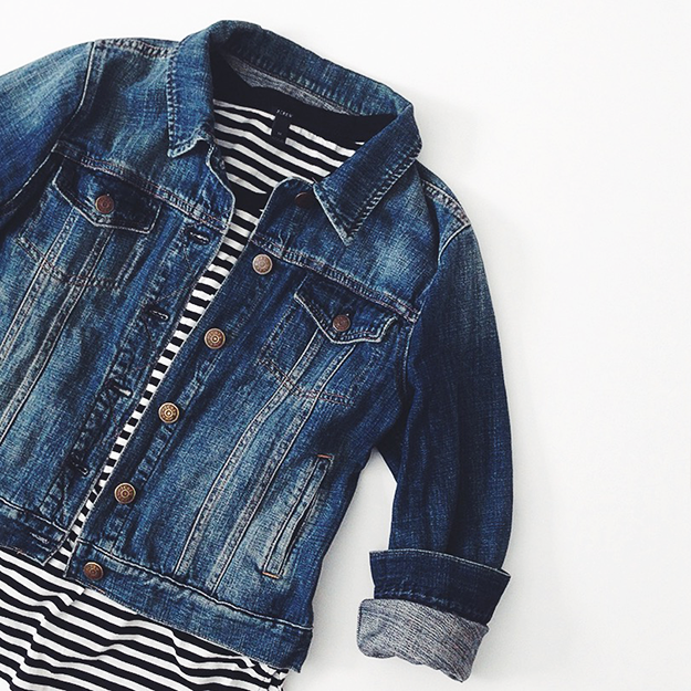 denim jacket + striped tee
