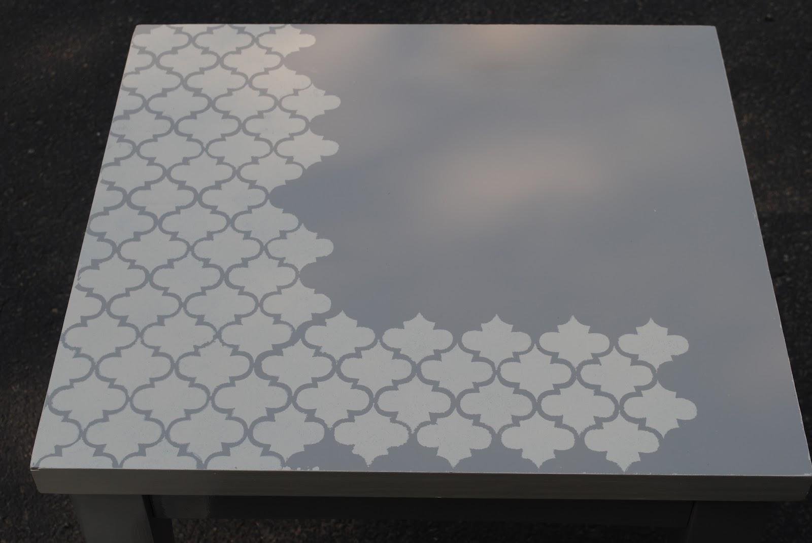 diy  moroccan tile stenciled table