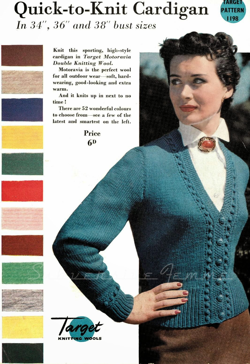 Targer quick-to-knit cardigan 1950's knitting pattern