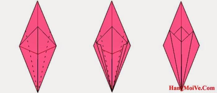Bước 15: Gấp hai mép 2 bên của hình 1 lại theo chiều từ bên ngoài vào bên trong (hình 2) ta được như hình 3.