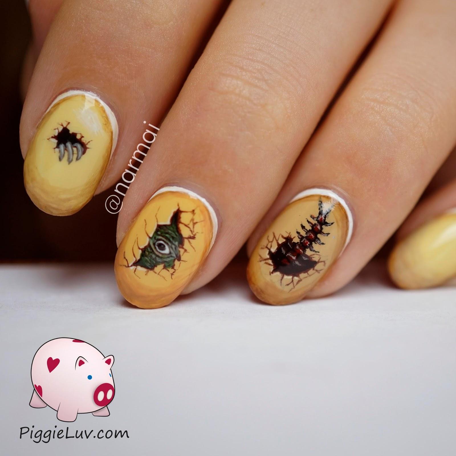 PiggieLuv: Freehand dinosaur eggs nail art