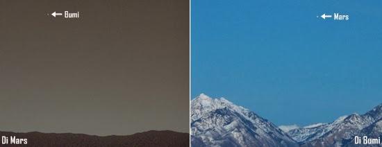 Pemandangan Bumi Terlihat dari Mars dan Sebaliknya