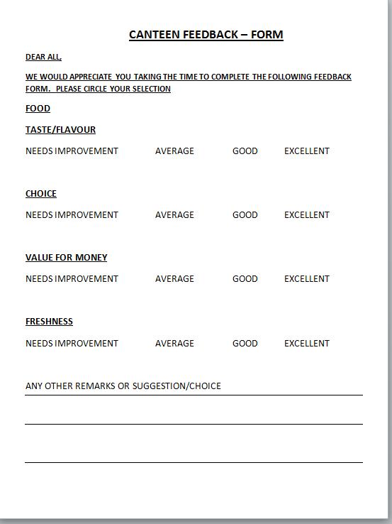 customer feedback form template .
