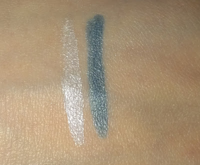 Sleek Twist Up eyeliner pencil swatches White and Sea Blue