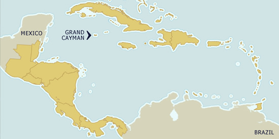 Cayman Islands on the map