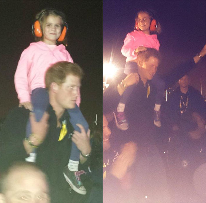 Party prince: Harry picked up Isabelle Nixon, five, put her on his shoulders and danced for the rest of the gig - See more at: http://www.georgianewsday.com/news/regional/289782-prince-harry-comes-to-aid-of-tearful-little-girl-at-invictus-games-closing-ceremony.html#sthash.JOAJEYZR.dpuf