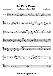 Partitura de La Pantera Rosa para Flauta Travesera, flauta dulce y flauta de pico Henry Mancini Flute and Recorder Sheet Music The Pink Panter by Henry Mancini