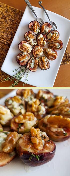 Figos amanteigados com mel cru, gorgonzola, tomilho e nozes