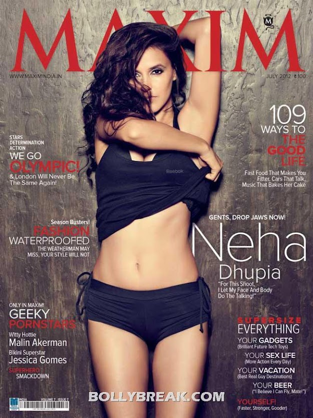 Neha dhupia on cover of Maxim Magazine in Black Bikini Under Pants - July 2012 Edition - Neha dhupia Maxim Cover Pic - July 2012